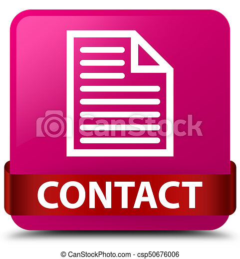 Contact (page icon) pink square button red ribbon in middle - csp50676006