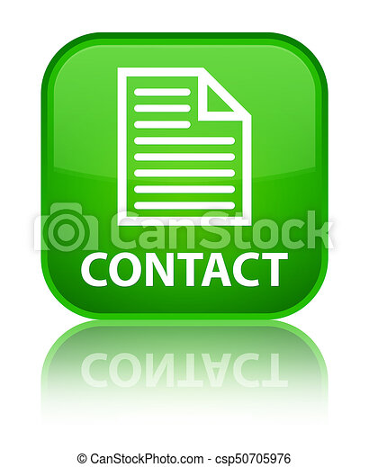 Contact (page icon) special green square button - csp50705976