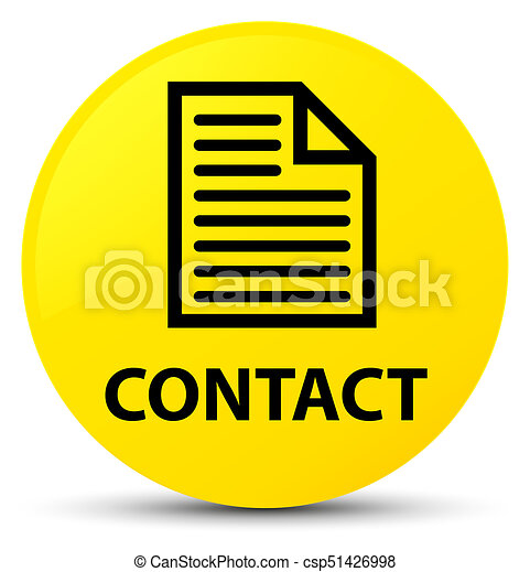 Contact (page icon) yellow round button - csp51426998