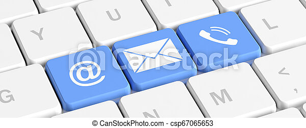 Contact Us Blue Keys Buttons With Mail And Phone Signs On A Computer Keyboard Banner 3d Illustration Contact Us Concept