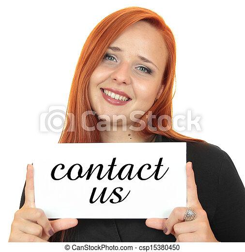 Contact us. Business woman - csp15380450