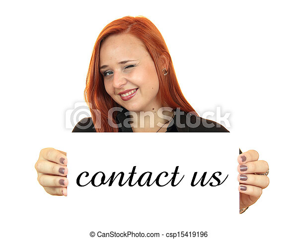 Contact us. Business woman - csp15419196