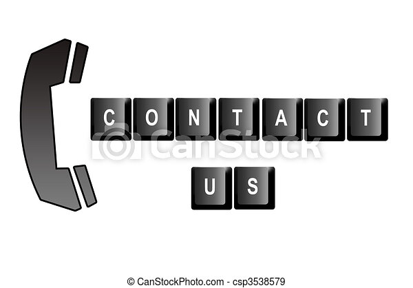 Contact Us Written With Computer Keyboard Letters And A Symbol Of A