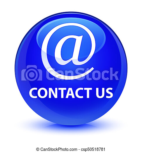 Contact us (email address icon) glassy blue round button - csp50518781
