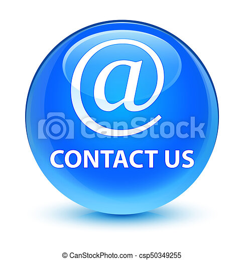 Contact us (email address icon) glassy cyan blue round button - csp50349255