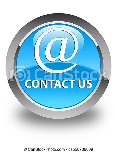 Contact us (email address icon) glossy cyan blue round button - csp50739609