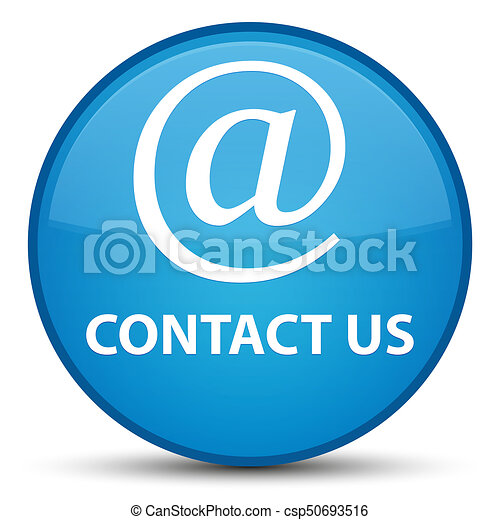 Contact us (email address icon) special cyan blue round button - csp50693516