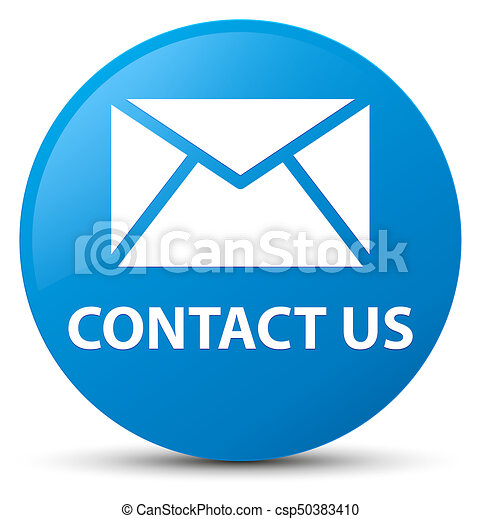 Contact us (email icon) cyan blue round button - csp50383410