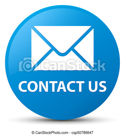 Contact us (email icon) cyan blue round button - csp50786647