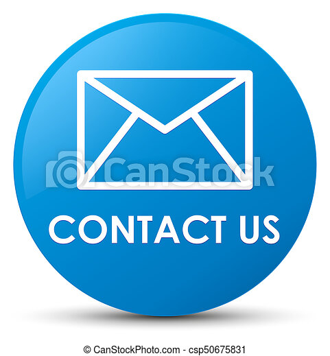 Contact us (email icon) cyan blue round button - csp50675831