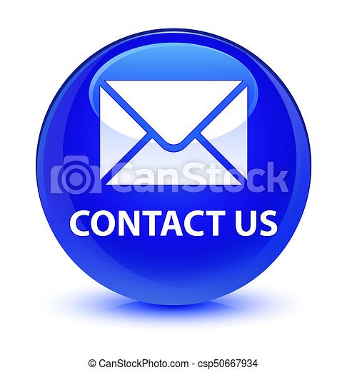 Contact us (email icon) glassy blue round button - csp50667934