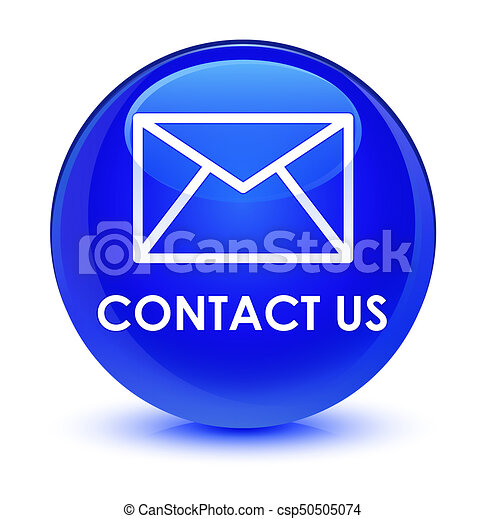 Contact us (email icon) glassy blue round button - csp50505074