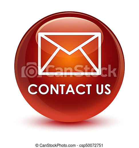 Contact us (email icon) glassy brown round button - csp50072751