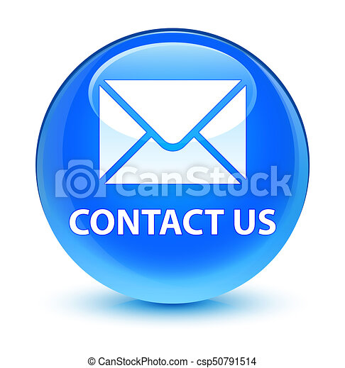 Contact us (email icon) glassy cyan blue round button - csp50791514