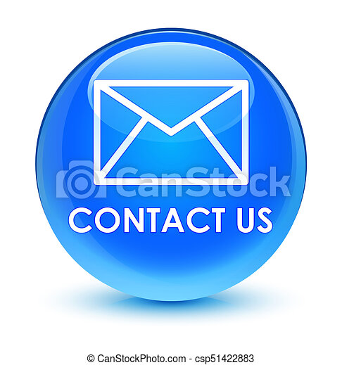 Contact us (email icon) glassy cyan blue round button - csp51422883