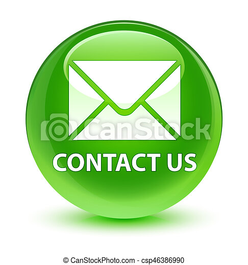 Contact us (email icon) glassy green round button - csp46386990