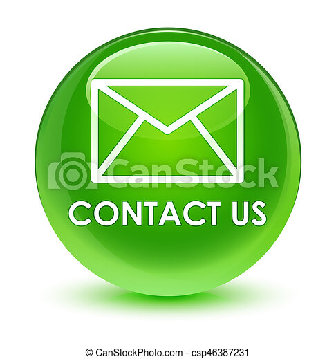 Contact us (email icon) glassy green round button - csp46387231
