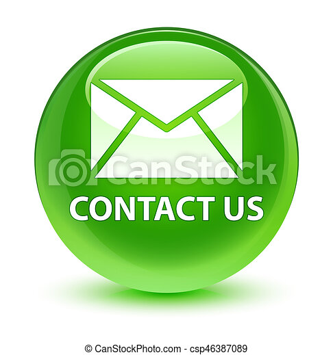 Contact us (email icon) glassy green round button - csp46387089