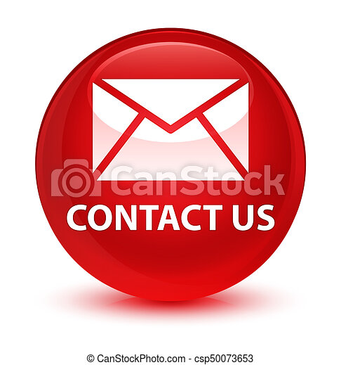 Contact us (email icon) glassy red round button - csp50073653