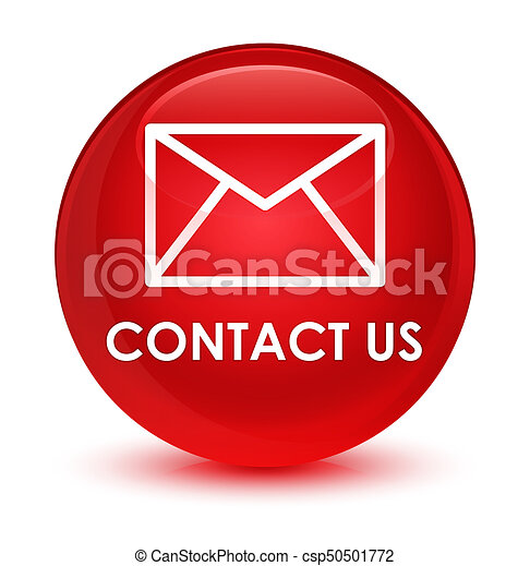 Contact us (email icon) glassy red round button - csp50501772