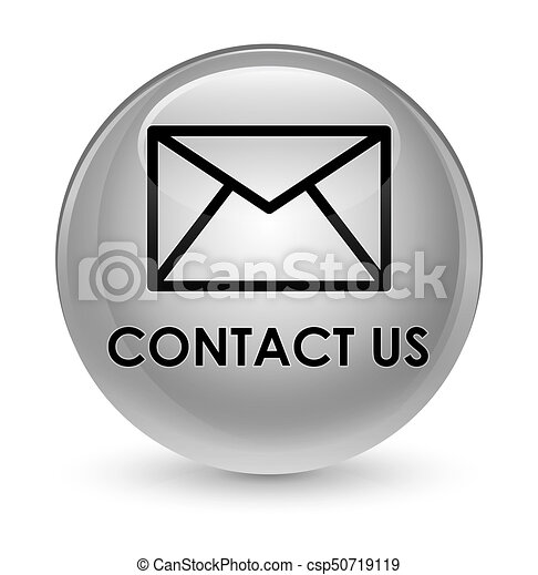 Contact us (email icon) glassy white round button - csp50719119