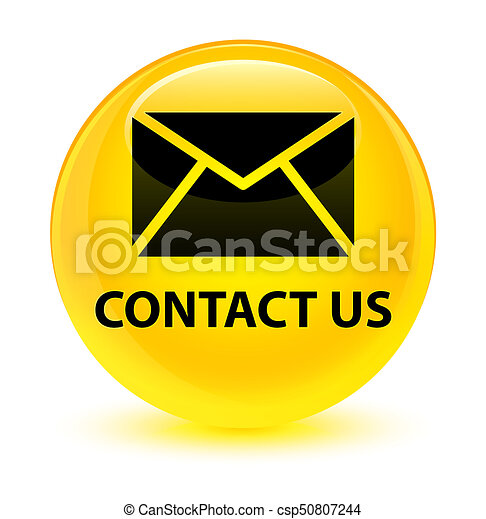 Contact us (email icon) glassy yellow round button - csp50807244