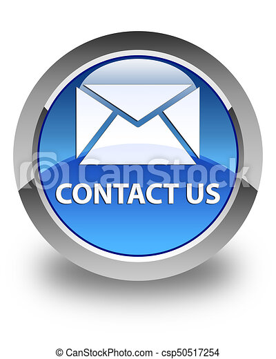 Contact us (email icon) glossy blue round button - csp50517254