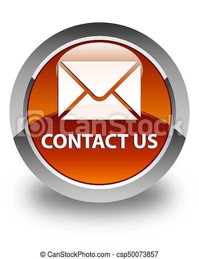 Contact us (email icon) glossy brown round button - csp50073857