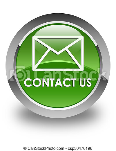 Contact us (email icon) glossy soft green round button - csp50476196