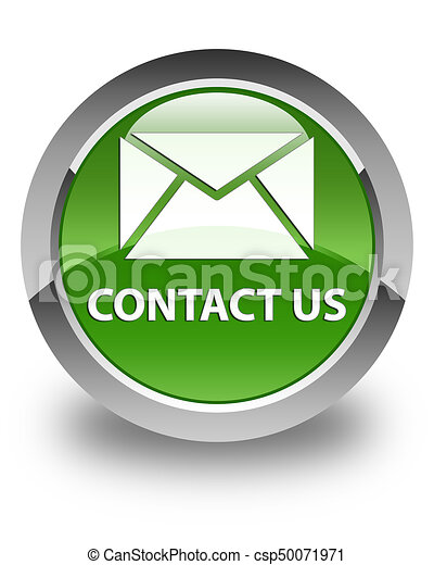Contact us (email icon) glossy soft green round button - csp50071971