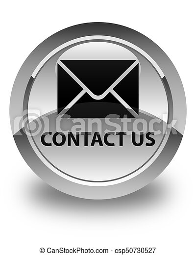 Contact us (email icon) glossy white round button - csp50730527