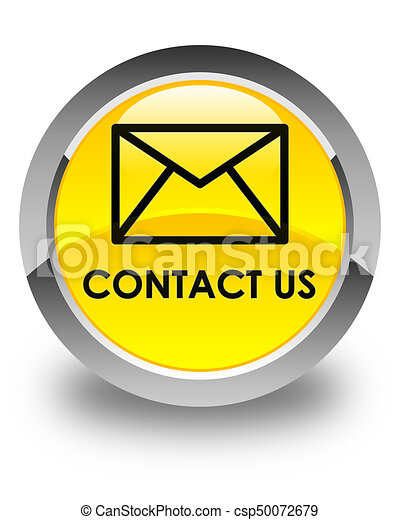 Contact us (email icon) glossy yellow round button - csp50072679
