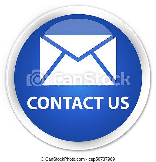 Contact us (email icon) premium blue round button - csp50737969