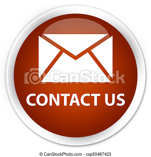 Contact us (email icon) premium brown round button - csp50487423