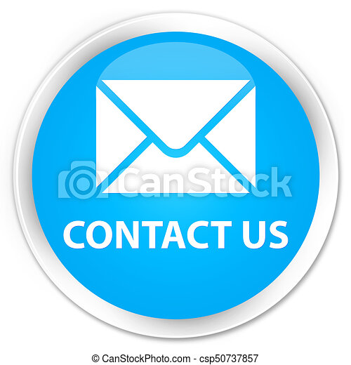 Contact us (email icon) premium cyan blue round button - csp50737857