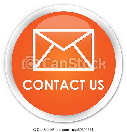 Contact us (email icon) premium orange round button - csp50692661