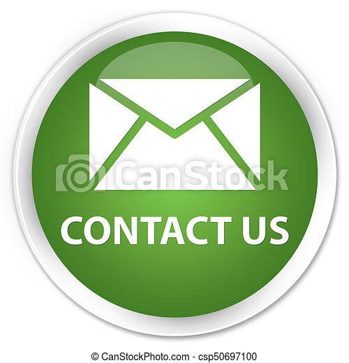 Contact us (email icon) premium soft green round button - csp50697100