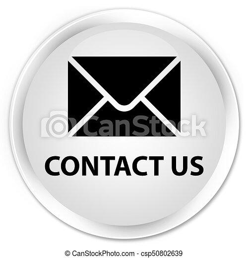 Contact us (email icon) premium white round button - csp50802639