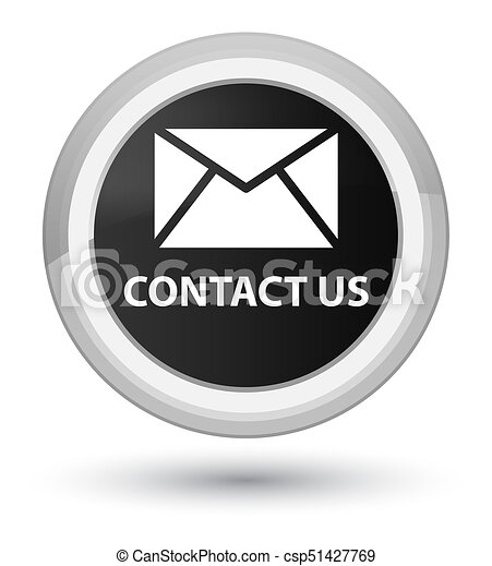 Contact us (email icon) prime black round button - csp51427769