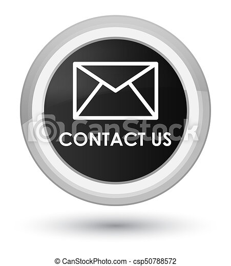Contact us (email icon) prime black round button - csp50788572