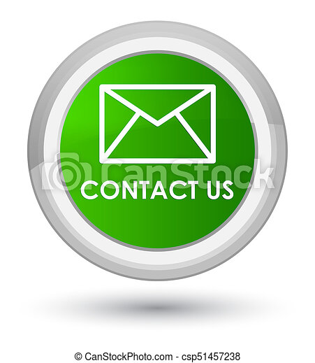 Contact us (email icon) prime green round button - csp51457238
