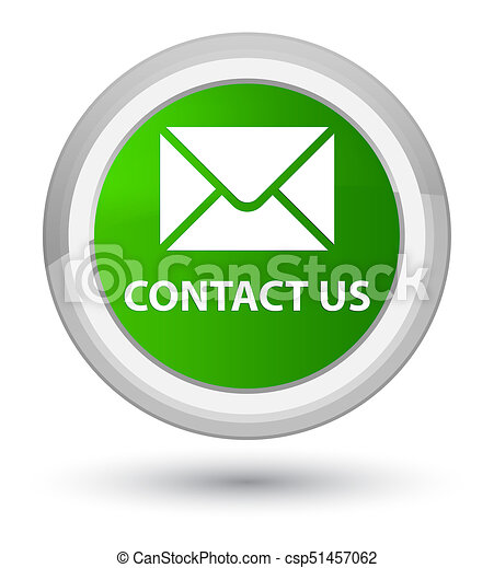 Contact us (email icon) prime green round button - csp51457062