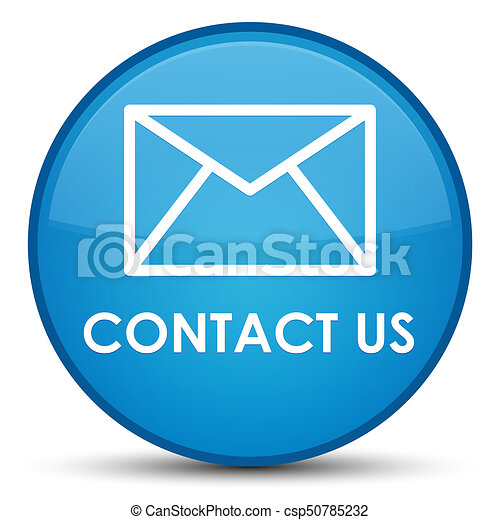 Contact us (email icon) special cyan blue round button - csp50785232