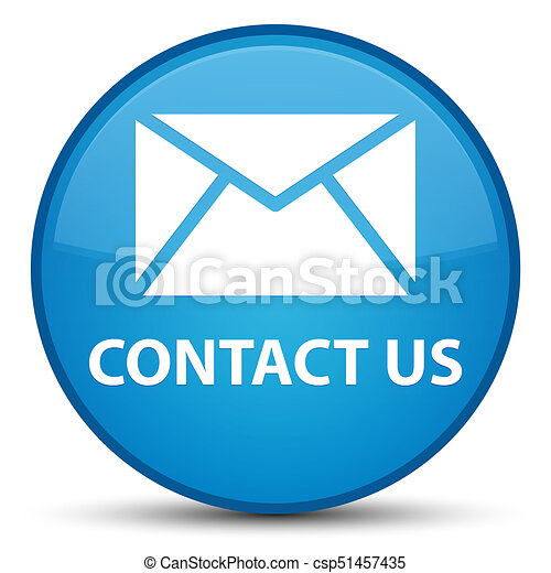 Contact us (email icon) special cyan blue round button - csp51457435