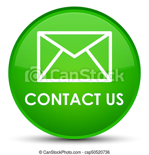 Contact us (email icon) special green round button - csp50520736