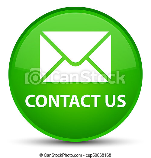 Contact us (email icon) special green round button - csp50068168