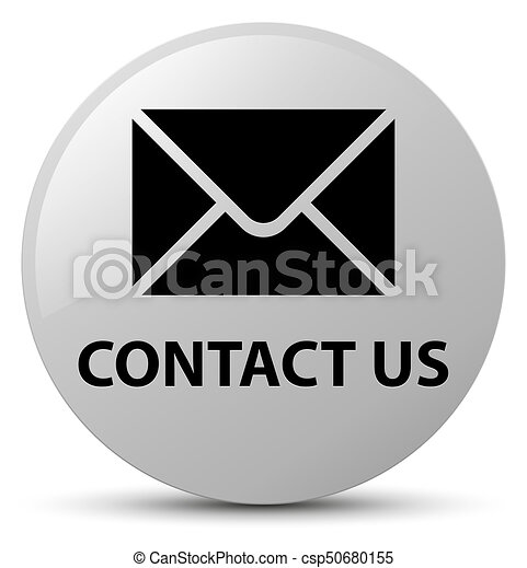 Contact us (email icon) white round button - csp50680155
