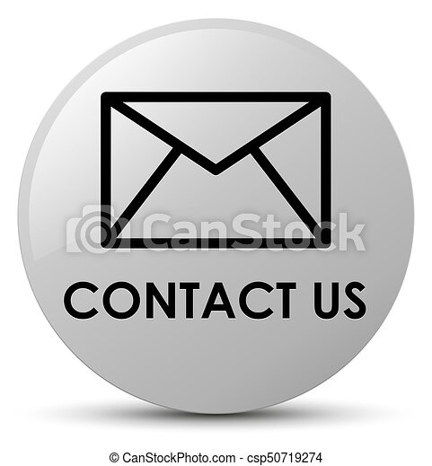 Contact us (email icon) white round button - csp50719274