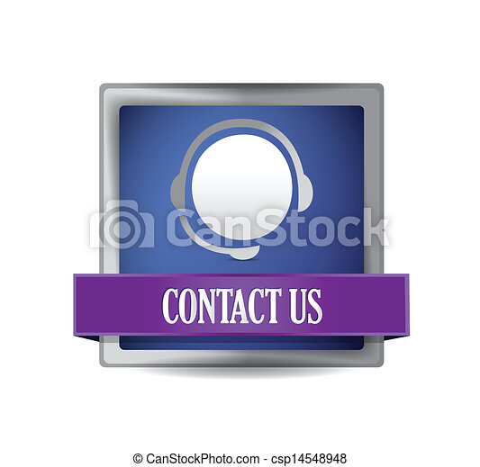 Contact us glossy blue button - csp14548948