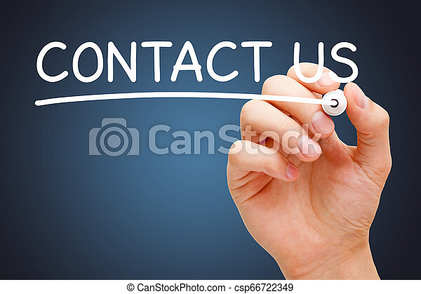 Contact Us Handwritten With White Marker - csp66722349